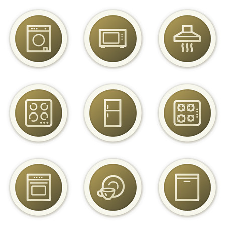 Home appliances web icons,  brown circle buttons series Stock Vector - 6385148