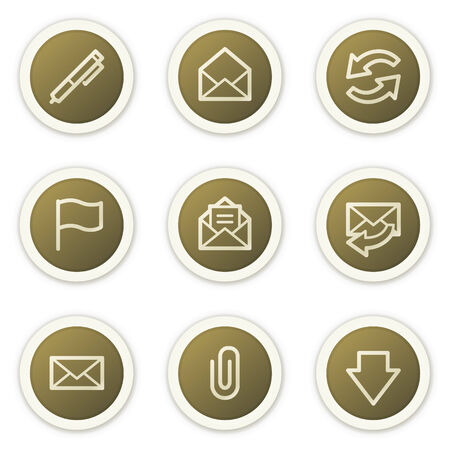 webmail: E-mail web icons,  brown circle buttons series