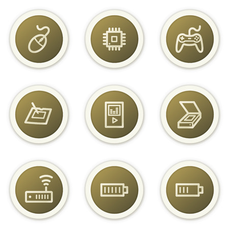 Electronics web icons set 2,  brown circle buttons series Stock Vector - 6386804