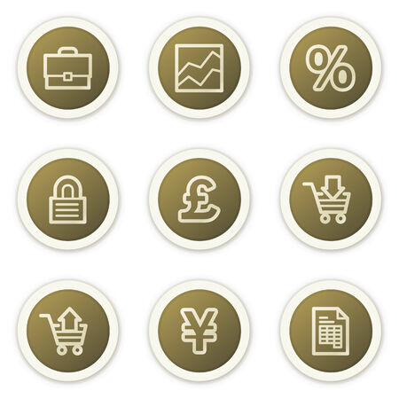 E-business web icons,  brown circle buttons series Stock Vector - 6385160
