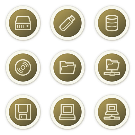 Drives and storage web icons,  brown circle buttons series Stock Vector - 6385149