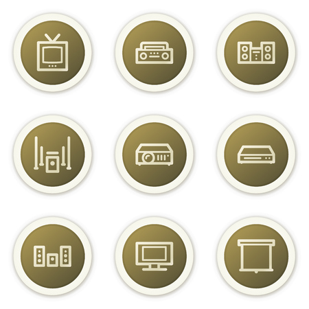 tvset: Audio video web icons,  brown circle buttons series Illustration