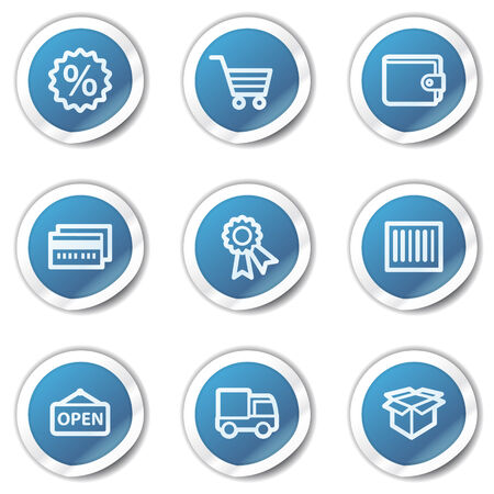 Shopping web icons set 2, blue sticker series Vector