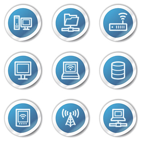 wireless lan: Network web icons, blue sticker series Illustration