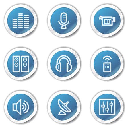 Media web icons, blue sticker series Stock Vector - 6416089