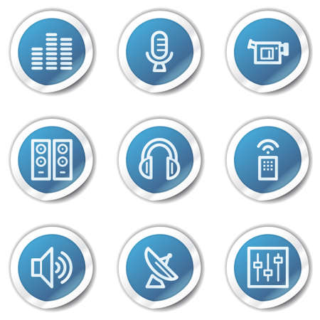 Media web icons, blue sticker series Stock Vector - 6416089