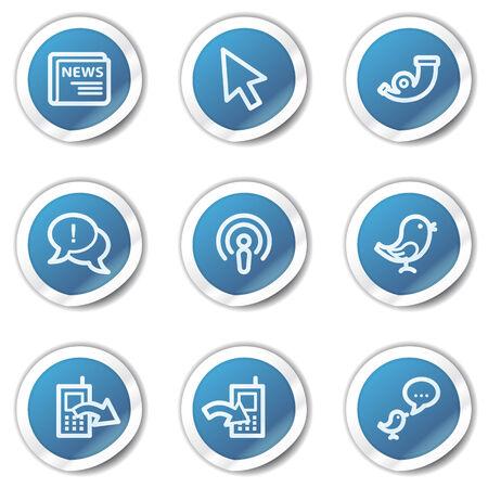 Internet web icons set 2, blue sticker series Stock Vector - 6416096