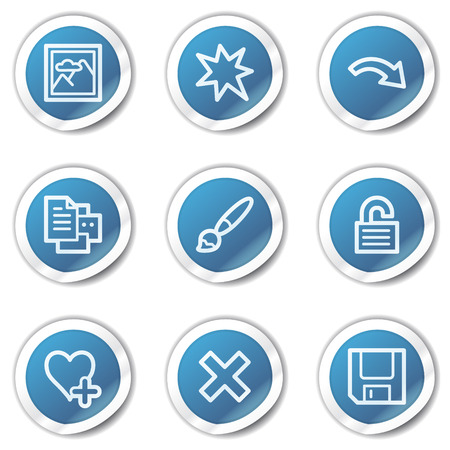 Image viewer web icons set 2, blue sticker series Stock Vector - 6416118