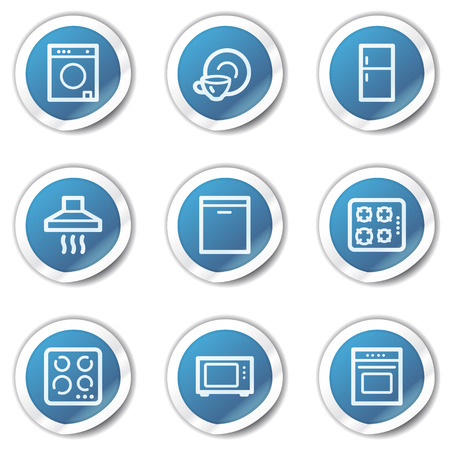 Home appliances web icons, blue sticker series Vector