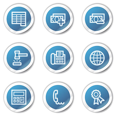 Finance web icons set 2, blue sticker series Stock Vector - 6416099