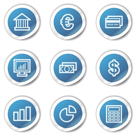Finance web icons set 1, blue sticker series Stock Vector - 6416121