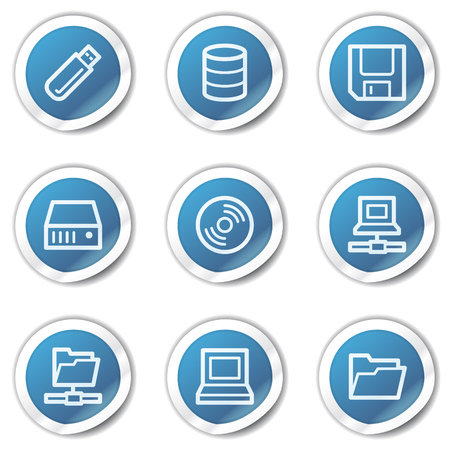 Drives and storage web icons, blue sticker series Stock Vector - 6416113