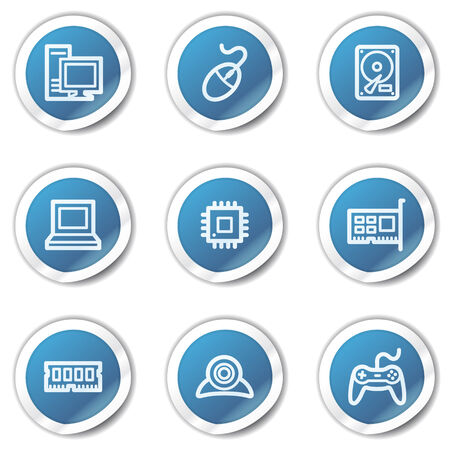 Computer web icons, blue sticker series Illustration