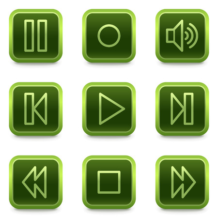 pause button: web icons, green square buttons series Illustration