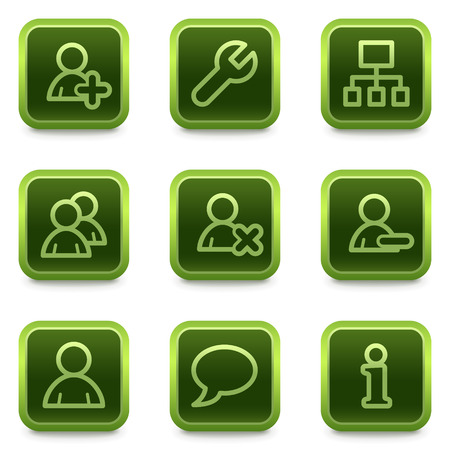 Users web icons, green square buttons series Stock Vector - 6469280