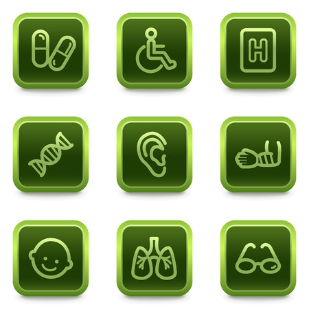 traumatic: Medicine web icons set 2, green square buttons series