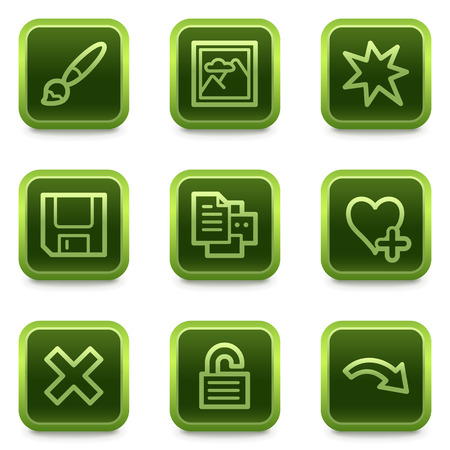 and viewer: Image viewer web icons set 2, green square buttons series