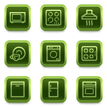 Home appliances web icons, green square buttons series Stock Vector - 6469302