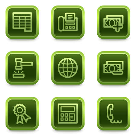 Finance web icons set 2, green square buttons series Stock Vector - 6469310