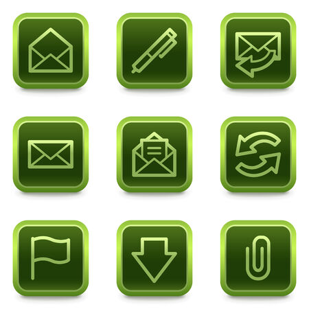 webmail: E-mail web icons, green square buttons series