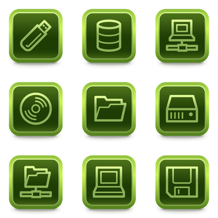 fdd: Drives and storage web icons, green square buttons series Illustration