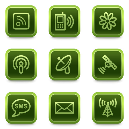 Communication web icons, green square buttons series Stock Vector - 6469308