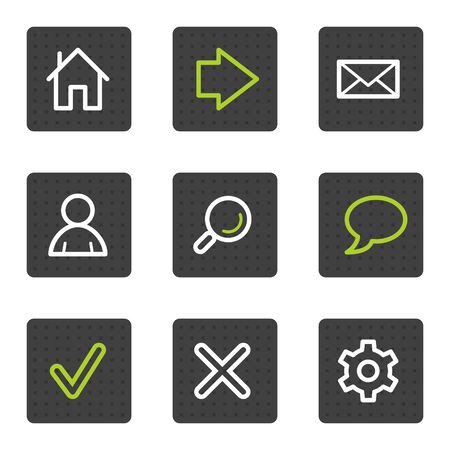Basic web icons, grey square buttons series Vector