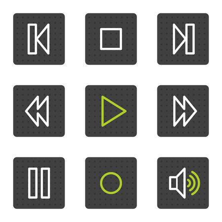Walkman web iconos, botones de cuadrado gris serie Ilustración de vector
