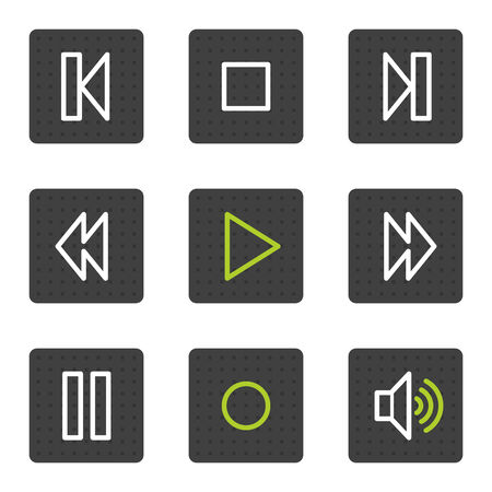Walkman web icons, grey square buttons series Vector