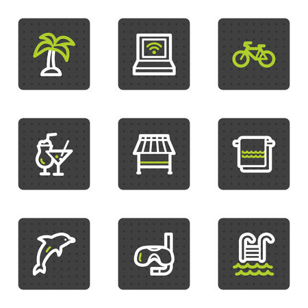 Vacation web icons, grey square buttons series Vector