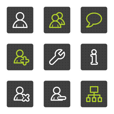 Users web icons, grey square buttons series Vector
