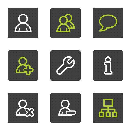 ajouter: Utilisateurs web icônes, série de boutons carrés gris