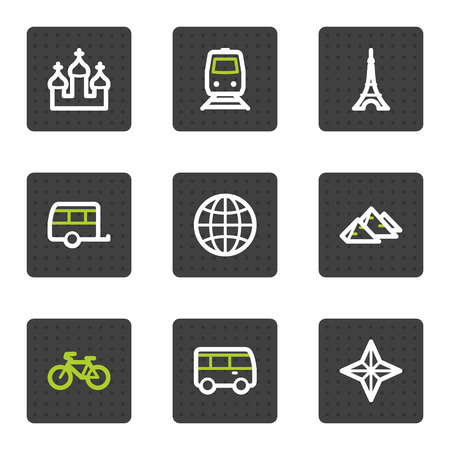 Travel web icons set 2, grey square buttons series Vector