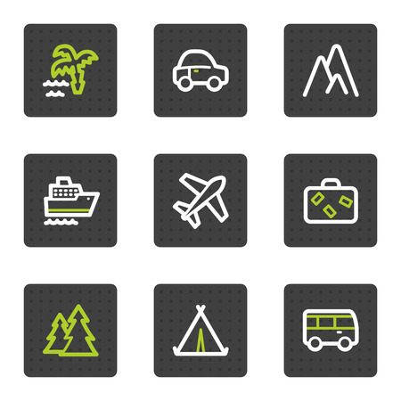 Travel web icons set 1, grey square buttons series Vector