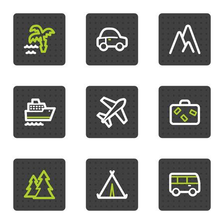 air travel: Viaggi web icons set 1, quadrato grigio pulsanti serie  Vettoriali