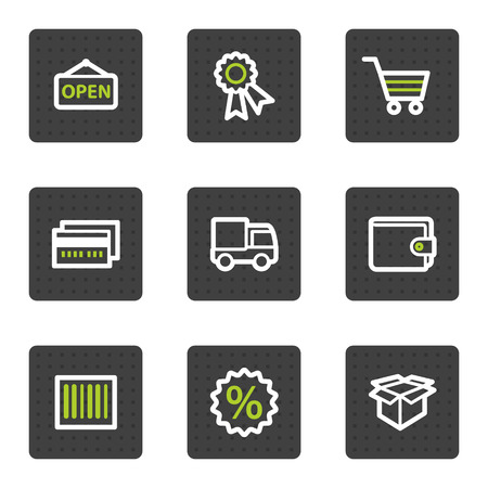 Shopping web icons set 2, grey square buttons series Vector