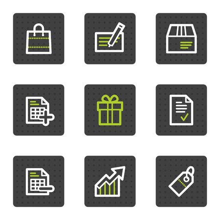 agregar: Compras de iconos web conjunto 1, cuadrado gris botones de serie