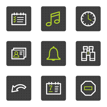 alarm: Organizer web icons, grey square buttons series