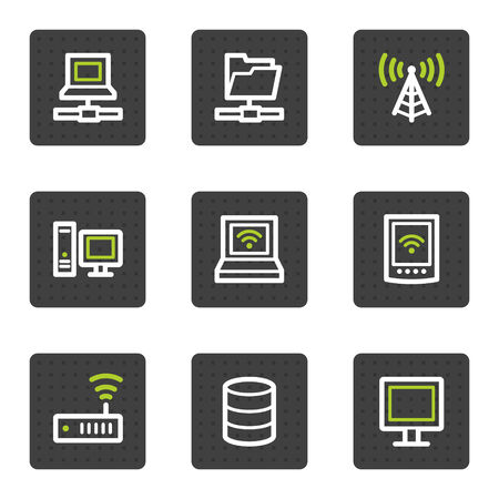 red lan: Iconos de la web de la red, gris de la serie de botones cuadrados