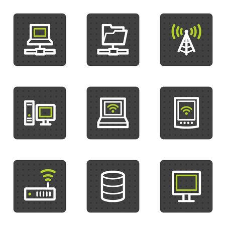 Network web icons, grey square buttons series Reklamní fotografie - 6493450
