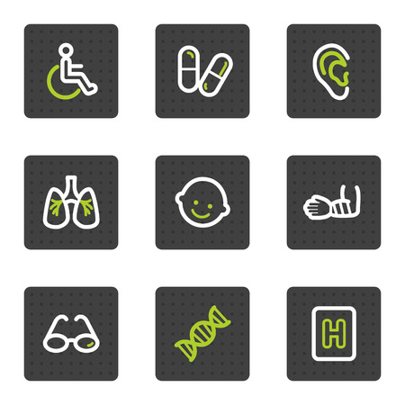 Medicine web icons set 2, grey square buttons series Stock Vector - 6493429
