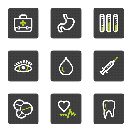 Medicine web icons set 1, grey square buttons series Stock Vector - 6493431