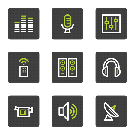 grey: Media web icons, grey square buttons series