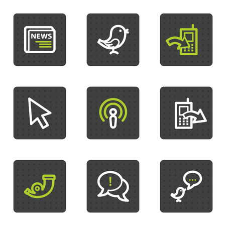 comments: Internet web icons set 2, grey square buttons series Illustration