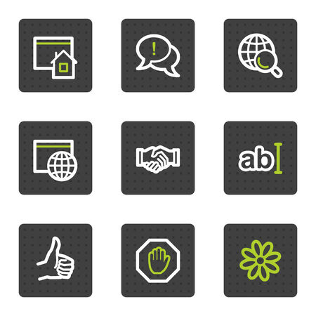 Internet web icons set 1, grey square buttons series