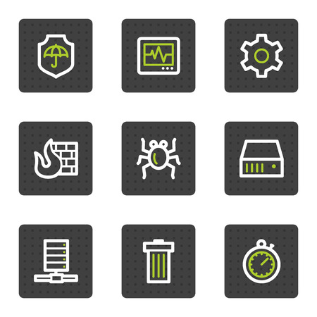 Internet security web icons, grey square buttons series Vector