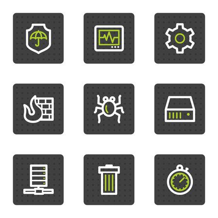 databank: Internet security web icons, grijze vierkant knoppen serie  Stock Illustratie