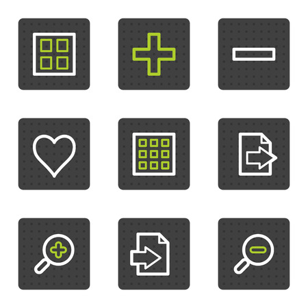 Image viewer web icons set 2, grey square buttons series Vector