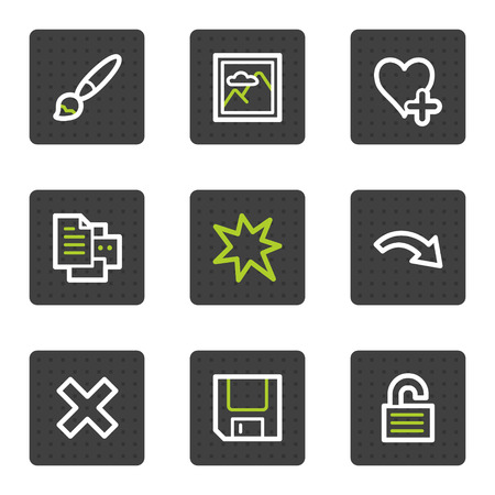 Image viewer web icons set 1, grey square buttons series Vector