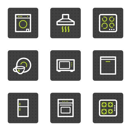 lavavajillas: Electrodom�sticos web serie de botones cuadrados de iconos, gris Vectores